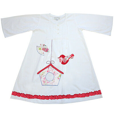 100% Cotton Longsleeve Nightdress - Bonnie - Bird Box - Powell Craft - Ages 1-9
