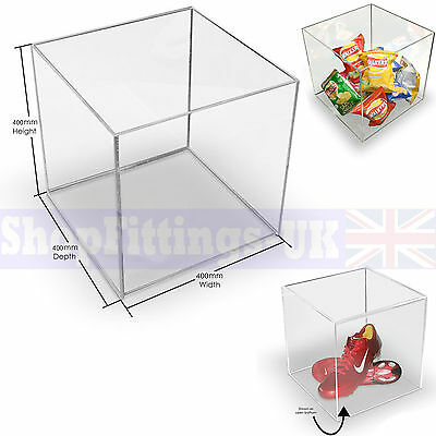 Acrylic Cube Display Stand Square 5 Sided Box 400x400x400mm Display Shop Holder