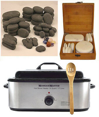 HOT/COLD STONE MASSAGE KIT: 78 Basalt/Chakra & Marble Stones + 18 Quart Heater
