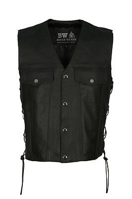 Mens Leather Waistcoat Vest Buttons Side Laced For Bikers/Fashion Biker wears