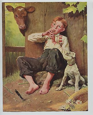 Vintage 1930's-40's Print Boy playing whittling carving wooden flute Cow & Dog