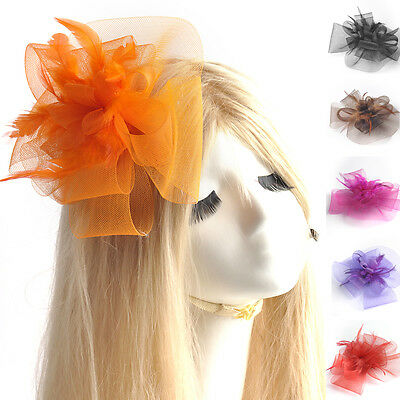 vintage handmade women gift wedding party feather fascinator hair clip accessory