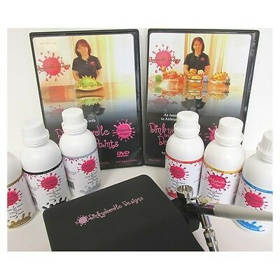 Dinkydoodle Black Airbrushing Kit With 6 Colours For Chocolate And 2 DVDs