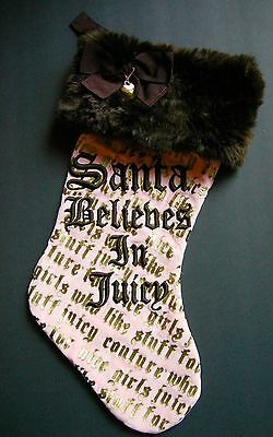 Christmas JUICY COUTURE Santa Believes In Juicy Stocking Pink Brown Gold Chain