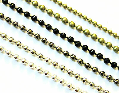 1m Ball Chain Round Necklace Jewellery Findings 1.5mm 2mm Black Silver Gunmetal
