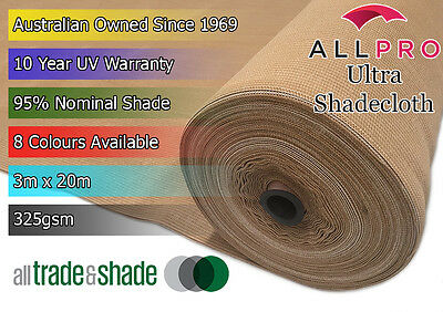 Architectural Ultra 95% Shade Cloth/Shadecloth 3Mx20M - 8 Vibrant Colours 325GSM