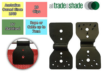 Abshade Butterfly Clips 20 pack - to attach Shade Cloth to wire or cable