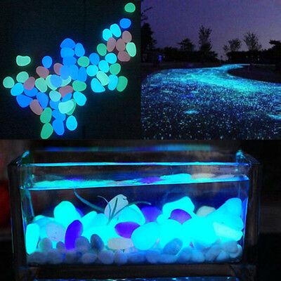 5Pcs Glow In The Dark Pebbles Stone Home Decor Walkway Aquarium Fish Tanks JD