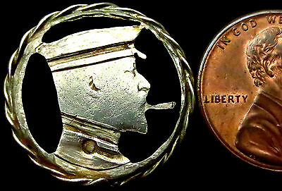 R673: 1910 World War One Trench Art  6d - King with cap & cigarette - Hand Cut