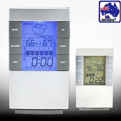 LCD Weather Station Temperature Thermometer Humidity Alarm Clock HCLOC 1310