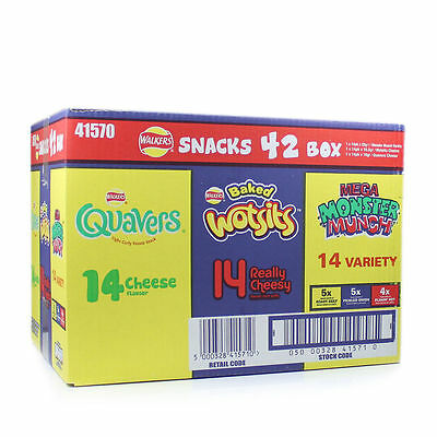 WALKERS SNACK 42 Pack Variety Crisp BOX - WOTSITS QUAVERS MONSTER MUNCH
