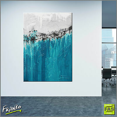 TEAL ABSTRACT ORIGINAL TEXTURE PAINTING CANVAS 140cm x 100cm Franko Australia