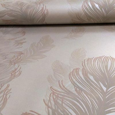 Precious Metals Sirius Feathers Wallpaper Rose Gold Feature Wall Arthouse 673600