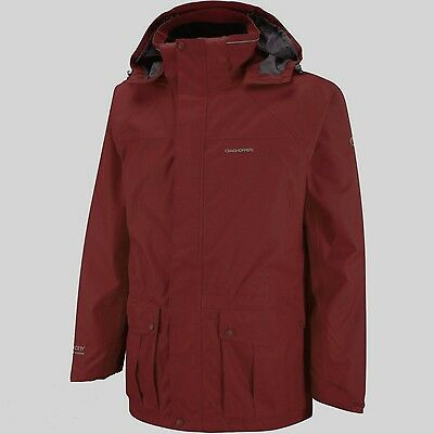 Craghoppers Kiwi Mens Aquadry 15000 Waterproof Breathable Hooded Jacket Burg M