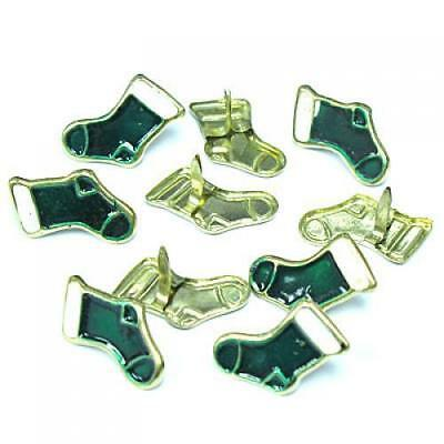 10pc Green Christmas Stockings Brads for Kids Scrapbooking Card Making Stamping