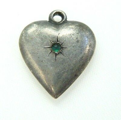 Antique Victorian Sterling Silver Puffy Heart Charm - Green Cabochon Stone