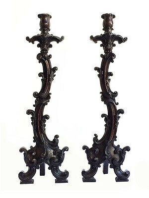 Huge Magnificent pair of Brazilian Colonial Baroque 18th Century Torcheres