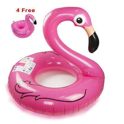 Pink Flamingo Inflatable Giant Pool Float Raft Ring Swim Water Fun+4 Can Holder