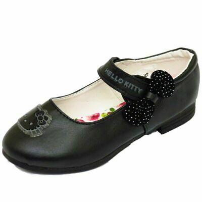 Kids Girls Childrens Black Hello Kitty School Pump Dolly Smart Flat Shoes 10-3