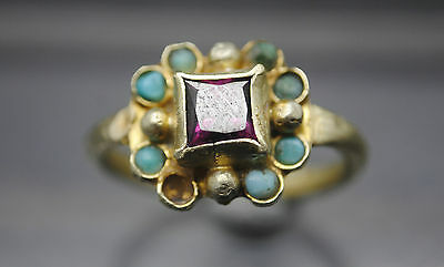 16Th-17Th Century Gold Finger Ring With Stone Inserts