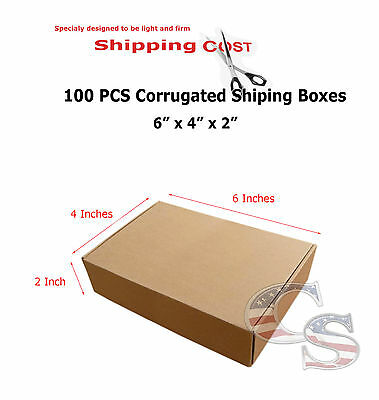 100 6x4x2 Cardboard Packing Mailing Moving Shipping Boxes Corrugated Cartons