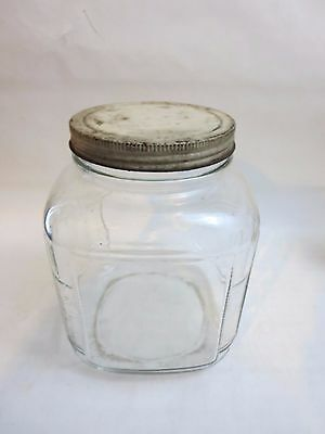 Vintage Square Clear Glass Paneled Ribbed Hoosier Jar Canister White Lid
