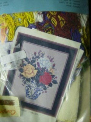 Bunka Punch Needle Embroidery #454 Roses In Vase Kit-14.5x 18.7 inches (37x48 cm