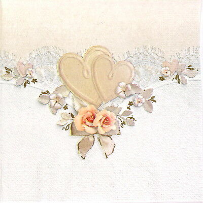 4x Single Table Party Paper Napkins for Decoupage Decopatch Beautiful Love