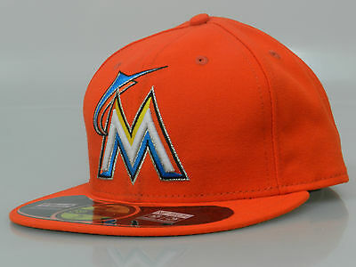 New Era 59FIFTY Miami Marlins Authentic Orange Fitted Baseball Cap Size 8 NWT