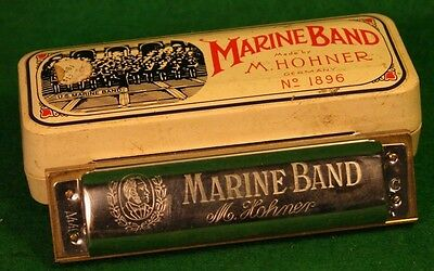Vintage Marine Band M. Hohner #1896 Harmonica In Original Box Good Shape-37T!