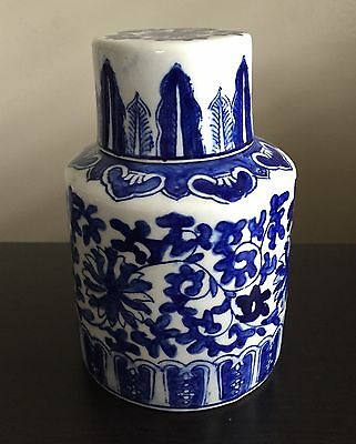 Fine Old Chinese Blue White Lidded Tea Caddy Jar Round Flower Art PERFECT NR