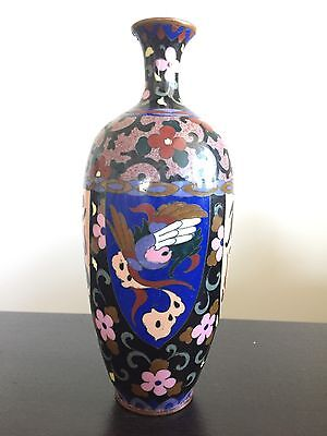 Fine Antique Meiji Japanese Cloisonné Vase Colorful Enamel Art Excellent NICE NR
