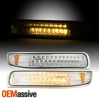 Fits *Clear* 99-02 Silverado 00-06 Tahoe Suburban Amber LED Bumper Signal Lights