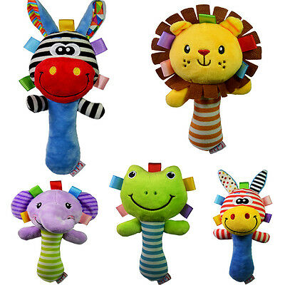 Cute Infant Baby Kids Sound Handbell Toddler Rattle Animal Plush Soft Doll Toys