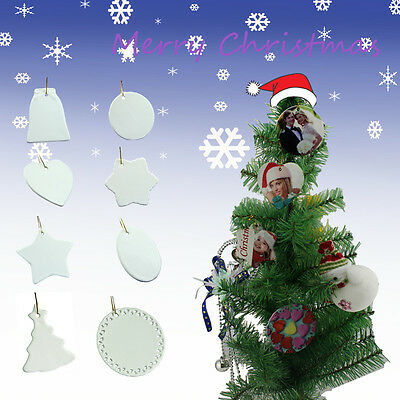 New Arrivals 12pcs Sublimation Ceramic Ornaments For Christmas Tree Decorations