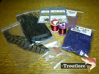 10 Pc Nymph Kit #1 - Thread, Feathers, Dubbing New Fly Tying Supplies Materials