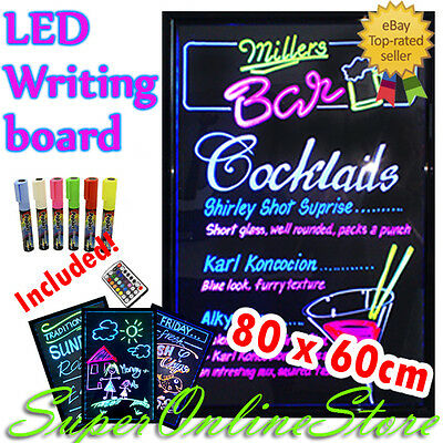 80x60cm LED Writing Board Neon Sign Signage Whiteboard Fluorescent Light Remote