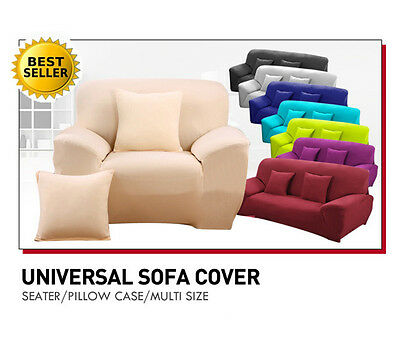 Plain Color Spandex Stretch Easy Fit Sofa Cover Slipcover For 1 2 3 4 seater