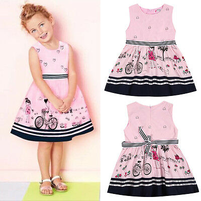 Toddler Kids Baby Dress Girls Sleeveless Party Princess Pageant Dresses 2-7Years