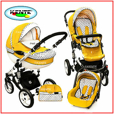 Pram stroller pushchair travel system buggy Yellow  with option car seat Isofix