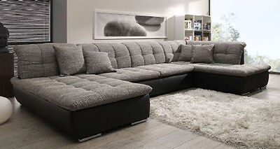 wohnlandschaft xxl format ecksofa in u form schwarz grau polsterecke sofa couch eur 799 00. Black Bedroom Furniture Sets. Home Design Ideas