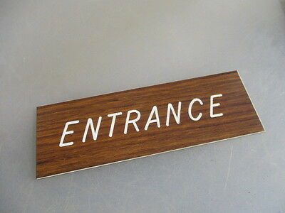 "Vinyl ""Entrance"" Plaque Sign Architectural Salvage Laminate Vintage - Retro Old"