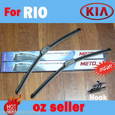 Pair Frameless Windscreen Wiper Blade For KIA RIO UB  09/2011  - 05/2016