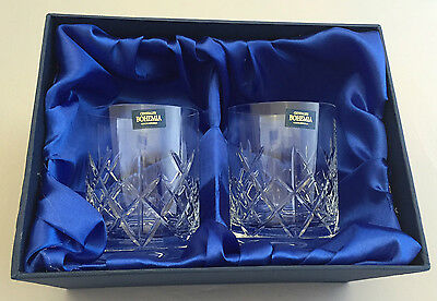 Bohemia Crystalite Cut Pair Of Whisky Glasses In Presentation Box