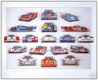 Momo Repsol Joest Omron 18 Porsche 962 Le Mans 1990 Print by Rosemary Hutchings