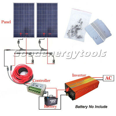 200W System: 2*100W Solar Panel+1KW Inverter 220V Output Off Grid for Home Use