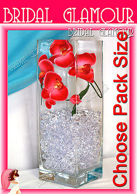 250pc-5000pc CLEAR Acrylic Ice Rock Crystals Cube Table Scatters Artificial Fake