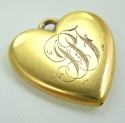 Antique Victorian 10K Gold Puffy Heart Charm Pendant
