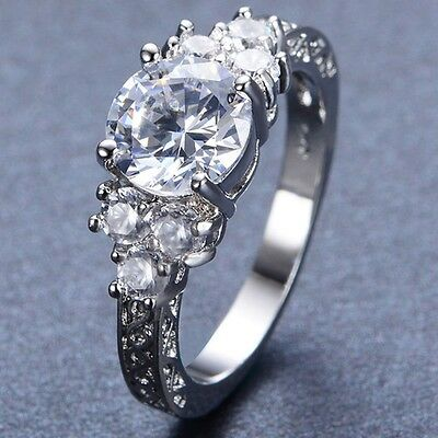 SZ 4-12 Lab Diamond White Gold 10KT Wedding Engagement Ring Anniversary Propose