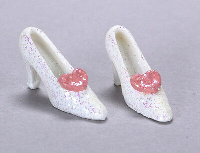 Ladies Shoes in White, Dolls House Miniature, 1.12 Scale Clothing Accessory